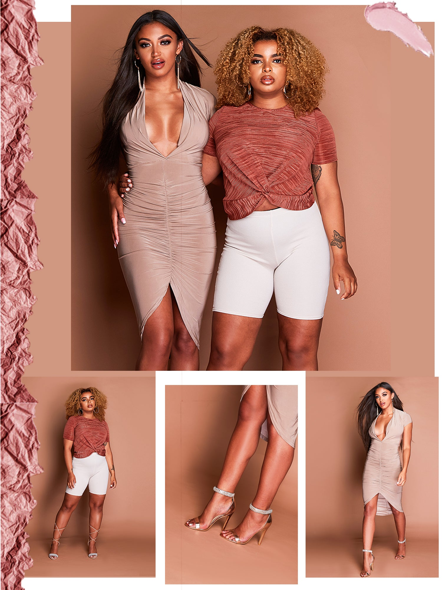 mocha coloured mega plunge slinky bodycon dress featuring ruched detailing down the front. dreamy rose coloured top is perfect to elevate any look. It features short sleeves and a front twisted design.