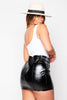 Black PVC Buckled Mini Skirt