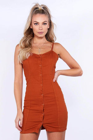 Rust Denim Buttoned Cami Dress