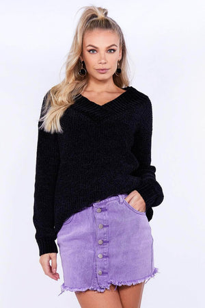 Lilac Distressed Buttoned Denim Mini Skirt