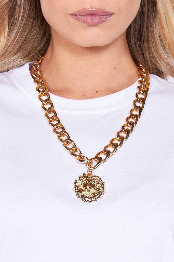 Chunky Gold Chain with Lion Pendant