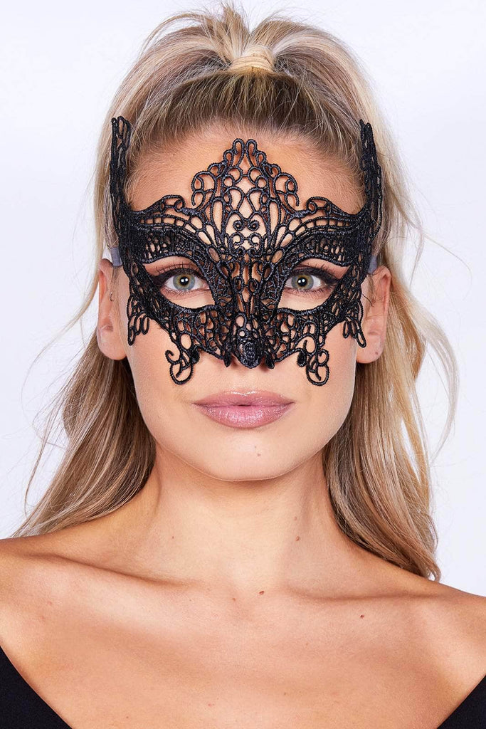 Black Lace Masquerade Mask with Ribbon