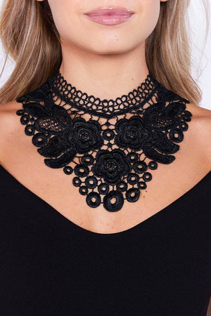 Black Lace Crochet Costume Necklace