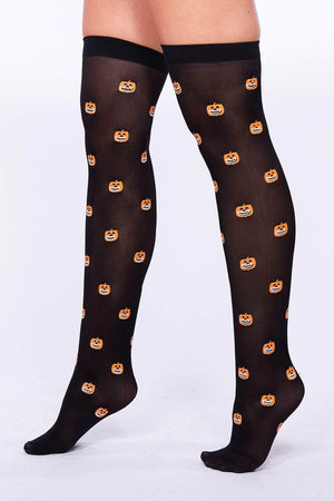 Pumpkin Printed Thigh High Socks