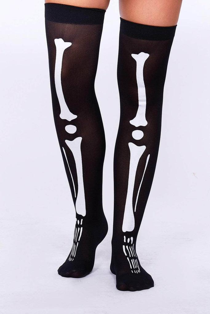 Skeleton Printed Thigh Socks