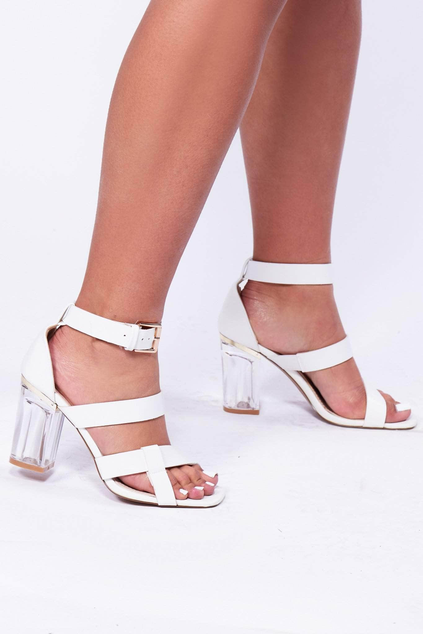 White Pu Heels with Clear Heel