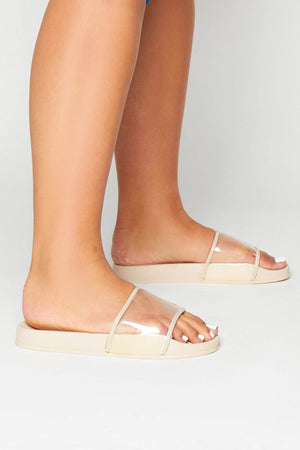 Nude Sliders with Perspex Strap