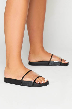 Black Sliders with Perspex Strap