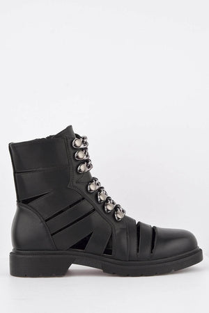 Black Chunky Hiking Cut Out Boots with Chains