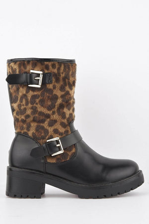 Faux Leopard Pony Hair Black Calf Boot