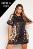 Plus+ Black Scarf Printed T.Shirt Dress