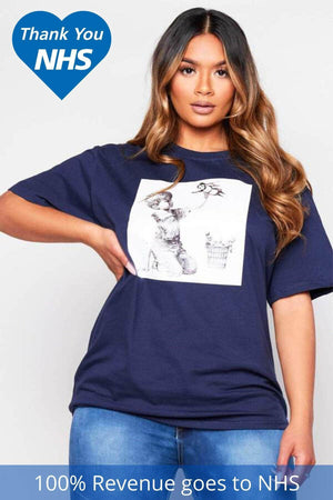NHS Navy Graphic Printed Heroes T.Shirt