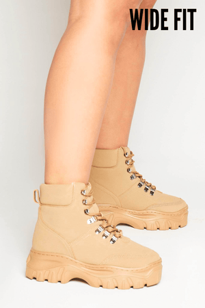 Wide Stone Suede Lace Up Hiking Boots