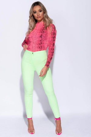 Lime Green High Waist Skinny Jeans