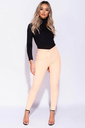 Neon Orange High Waist Skinny Jeans