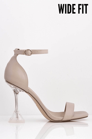 Nude Pu Square Heels with Perspex Mid Flare Heel