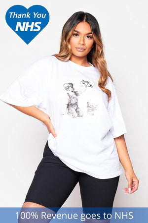 NHS White Graphic Printed Heroes T.Shirt