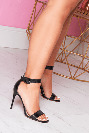 Black Croc Open Toe Stilettos