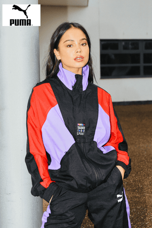 Puma Black Colour Block Oversize Track Jacket