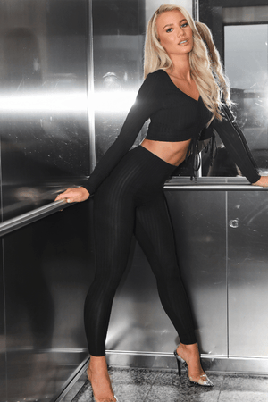 Black Ribbed Crop Top & Leggings Co-ord