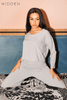Grey V Neck Oversized Tee & Wide Trousers Co-ord