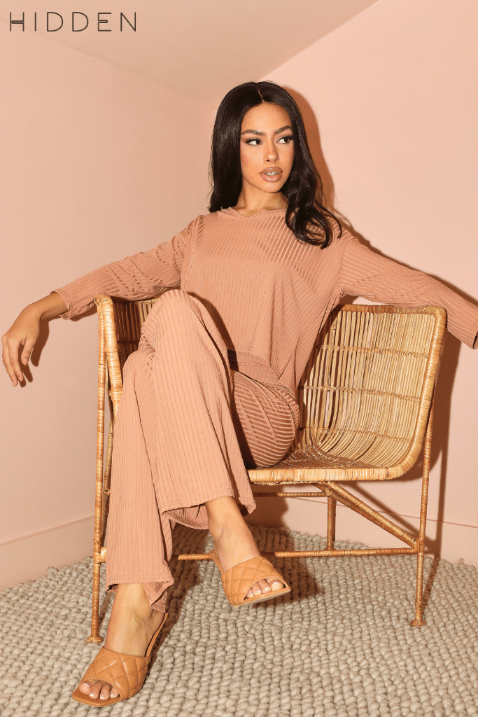 Camel V Neck Oversized Tee & Wide Trousers Co-ord