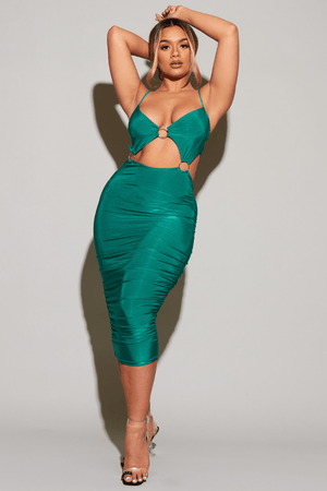 Green Slinky Ruched Ring Detail Midi Dress