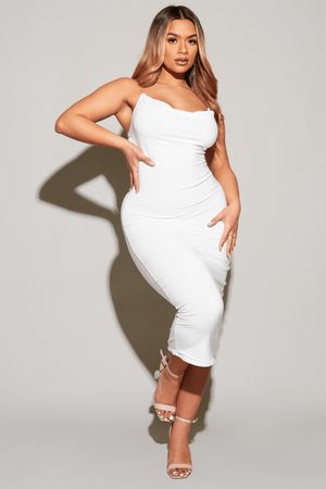 White Slinky Cowl Neck Perspex Strap Midi Dress
