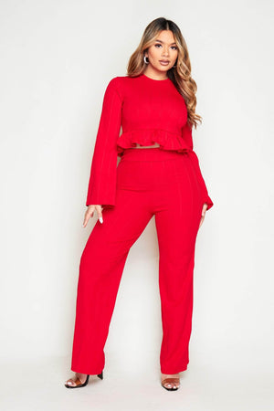 Red Ribbed Frill Hem Top & Wide Leg Trousers Co-ord