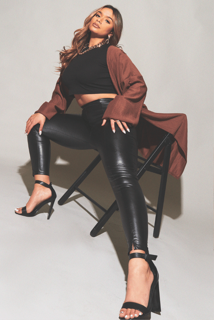 Faux Leather Black Leggings with Split Front