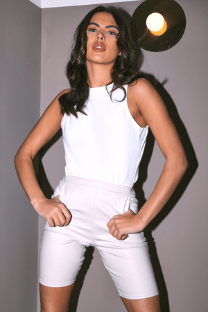 White Ribbed High Neck Racer Bodysuit