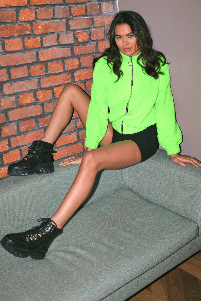 Neon Lime Green Zip Up Teddy Jacket