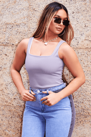 Grey Structured Rib Square Neck Bodysuit
