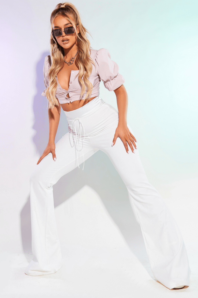 White Flare Trousers with Satin Waistband Detail