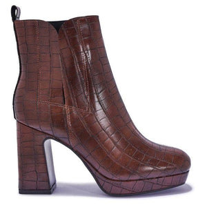 Brown Croc Pu Ankle Boots