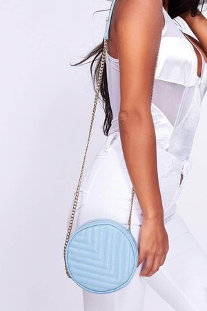 Light Blue Chevron Circle Quilted Bum Bag