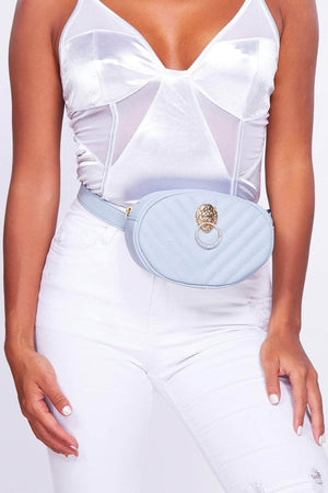 Light Blue Chevron Lion Bum Bag