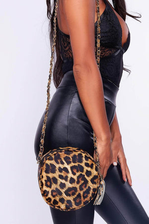 Leopard Print Circle Cross Body Bag