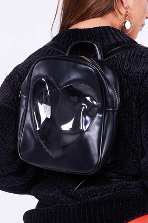 Black Pu & Heart Perspex Backpack