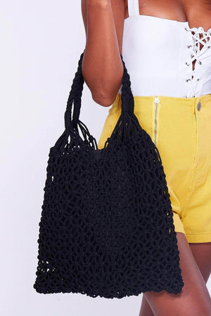 Black Macrame Crochet Tote Bag