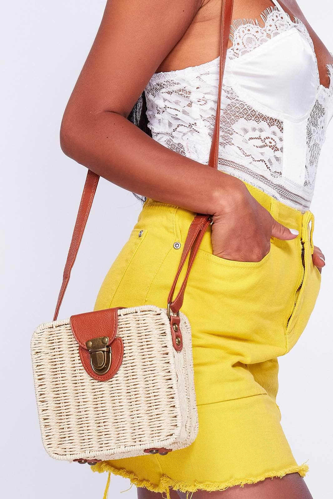 Straw Square Box Cross Body Bag