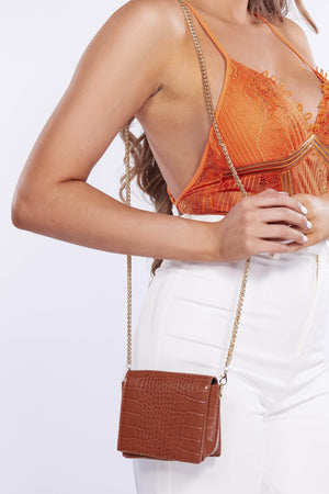 Brown Croc Micro Mini Bag