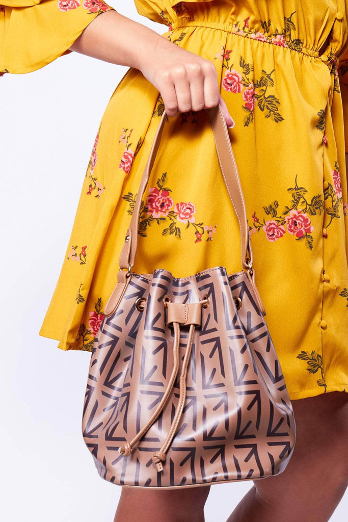 Brown Leather Patterned Bucket Bag