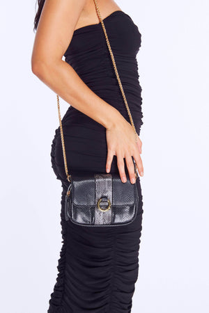 Black Snake Rectangle Cross Body Bag