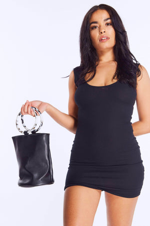 Black Pu Bucket Bag with Marble Circle Handle