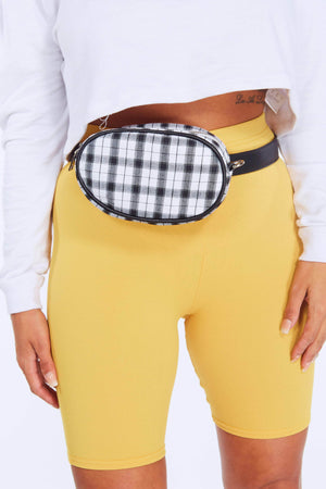 Black & White Checked Oval Bum Bag