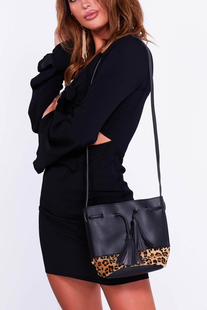 Black Pu Leopard Bucket Bag with Tassels