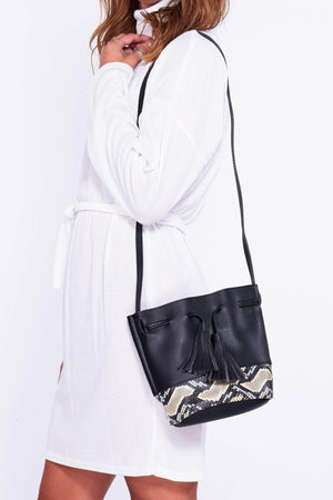 Black Bucket Bag with Snake