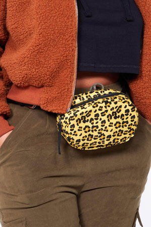 Yellow Faux Pony Hair Leopard Oval Bum Bag