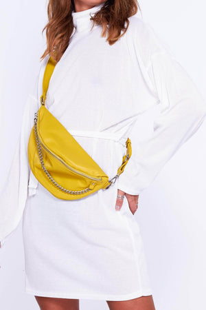 Yellow Pu Bum Bag with Silver Chain